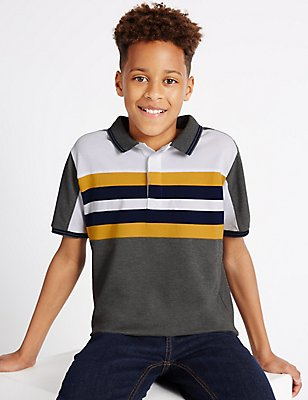 Cotton Blend Polo Shirt (3-14 Years), DARK GREY MIX, catlanding
