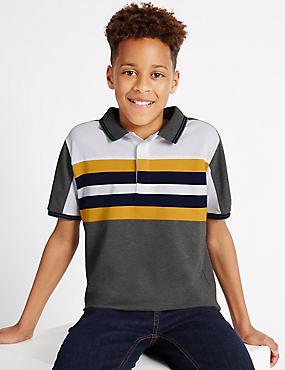 Cotton Blend Polo Shirt (3-14 Years), DARK GREY MIX, catlanding