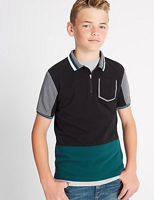 Pure Cotton Colour Block Polo Shirt (3-14 Years), BLACK MIX, catlanding