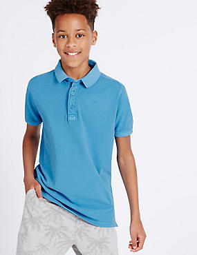Pure Cotton Polo Shirt (3-14 Years), MEDIUM TURQUOISE, catlanding