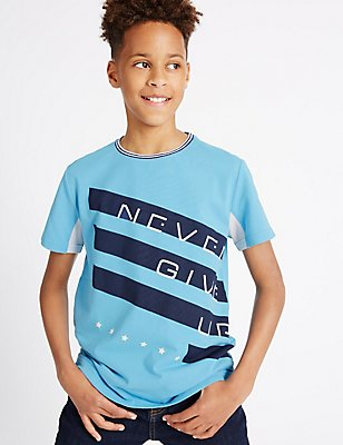Pure Cotton T-Shirt (3-14 Years), LIGHT BLUE, catlanding