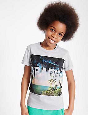 Cotton Rich Printed T-Shirt (3-14 Years), GREY MARL, catlanding