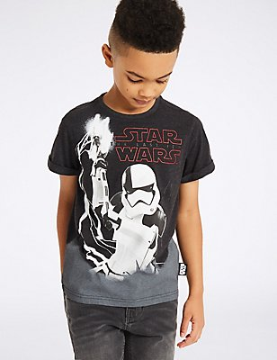 Cotton Rich Star Wars™ T-Shirt (3-14 Years), MID GREY MARL, catlanding