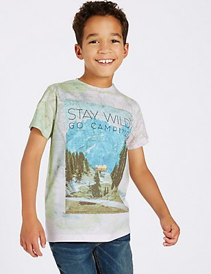 Printed Short Sleeve Top (3-14 Years), MULTI, catlanding