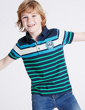 Pure Cotton Striped Polo Shirt (3-14 Years), NAVY MIX, catlanding
