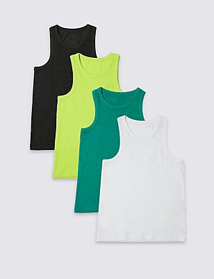 4 Pack Cotton Rich Vest Tops (3-14 Years), GREEN MIX, catlanding