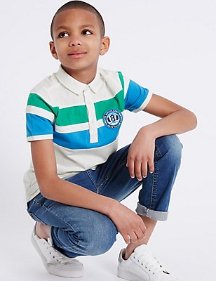 Pure Cotton Colour Block Polo Shirt (3-14 Years), WHITE, catlanding
