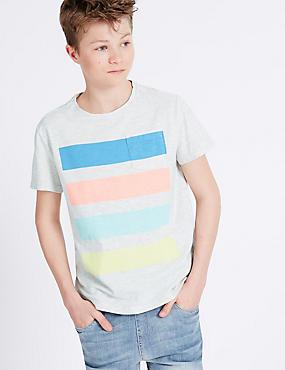T-Shirt mit hohem Baumwollanteil und Streifenmuster (3-14 Jahre), GRAU MELIERT, catlanding