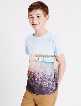 Printed Short Sleeve T-Shirt (3-14 Years), BLUE MIX, catlanding