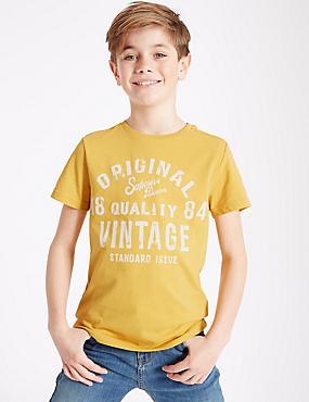 Cotton Rich Printed T-Shirt (3-14 Years), SUNSHINE, catlanding