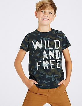 Pure Cotton Printed Top (3-14 Years), MULTI, catlanding