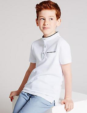 Pure Cotton Polo Shirt (3-14 Years), WHITE MIX, catlanding