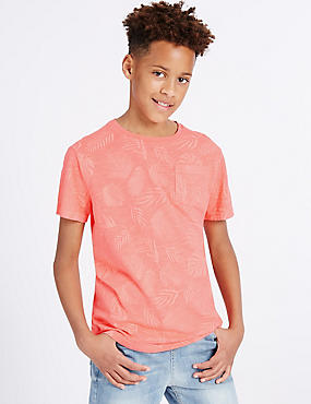 Pure Cotton All Over Print T-Shirt (3-14 Years), SOFT CORAL, catlanding