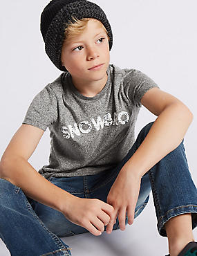 Textured Short Sleeve T-Shirt (3-14 Years), GREY MARL, catlanding