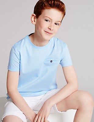 Pure Cotton T-Shirt (3-14 Years), LIGHT BLUE MIX, catlanding