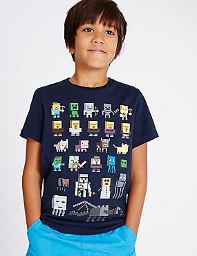T-shirt 100% coton à motif Minecraft (du 3 au 14ans), BLEU MARINE, catlanding