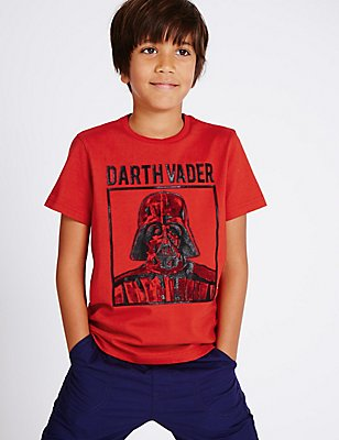 Pure Cotton Star Wars™ T-Shirt (3-14 Years), RED, catlanding