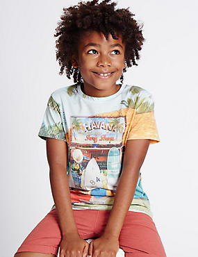 Cotton Blend Printed T-Shirt (3-14 Years), OCHRE, catlanding