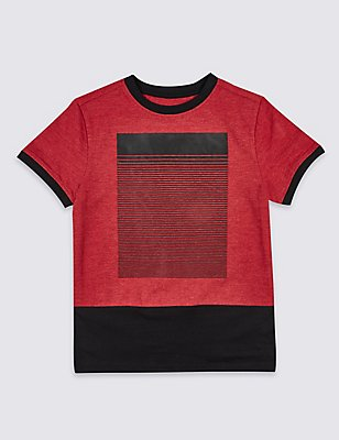 Cotton Rich Short Sleeve T-Shirt (3-14 Years), RED MIX, catlanding