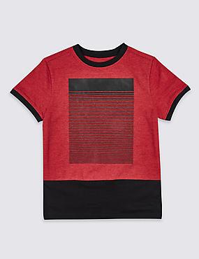 Cotton Rich Short Sleeve T-Shirt (3-14 Years), RED MIX, catlanding