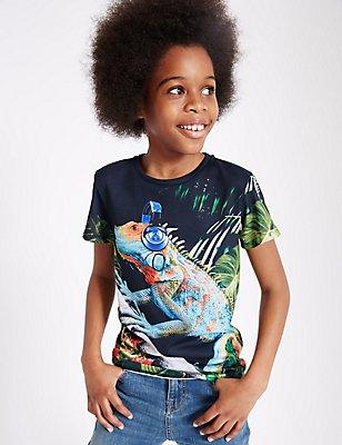 Short Sleeve Printed T-Shirt (3-14 Years), MULTI, catlanding
