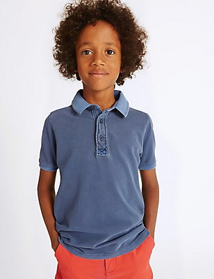 Pure Cotton Polo Shirt (3-14 Years), NAVY, catlanding