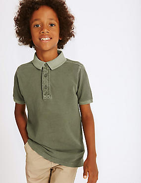 Pure Cotton Polo Shirt (3-14 Years), GREEN, catlanding