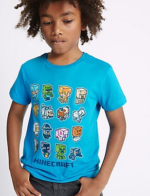 Pure Cotton Minecraft™ Top (3-14 Years), BLUE, catlanding
