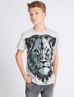 Cotton Rich Lion T-Shirt (3-14 Years), GREY MIX, catlanding
