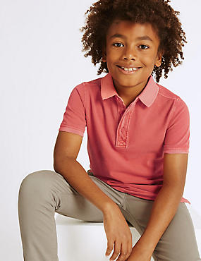 Pure Cotton Polo Shirt (3-14 Years), RED, catlanding