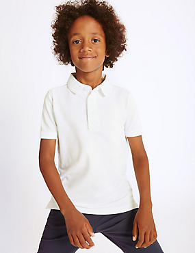 Pure Cotton Polo Shirt (3-14 Years), BLUE, catlanding