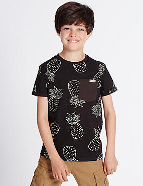 Pure Cotton Pineapple Print Top (3-14 Years), EBONY, catlanding