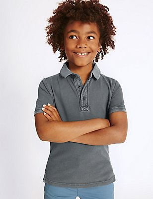 Pure Cotton Polo Shirt (3-14 Years), GREY, catlanding