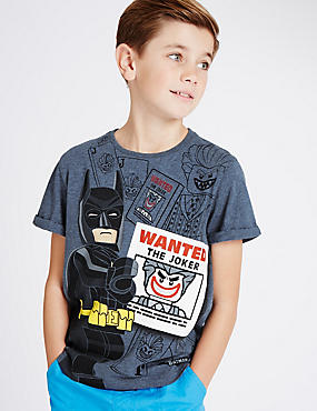Pure Cotton Lego Batman™ T-Shirt (5-14 Years), DENIM, catlanding