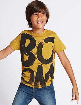 Pure Cotton Boom Print T-Shirt (3-14 Years), OCHRE, catlanding