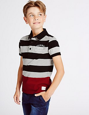Cotton Rich Striped Polo Shirt (3-14 Years), MULTI, catlanding