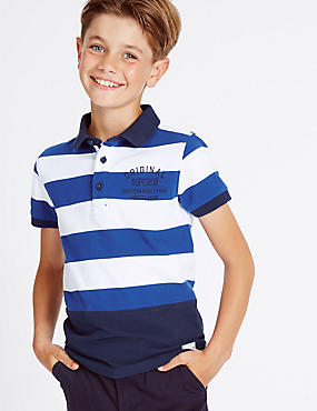 Pure Cotton Striped Polo Shirt (3-14 Years), MULTI, catlanding