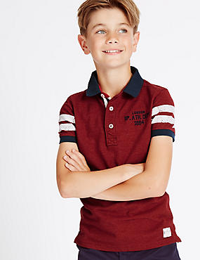 Pure Cotton Polo Shirt (3-14 Years), MULTI, catlanding