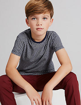 Cotton Rich Jacquard T-Shirt (3-14 Years), GREY MIX, catlanding