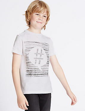 Pure Cotton Printed T-Shirt (3-14 Years), IVORY, catlanding