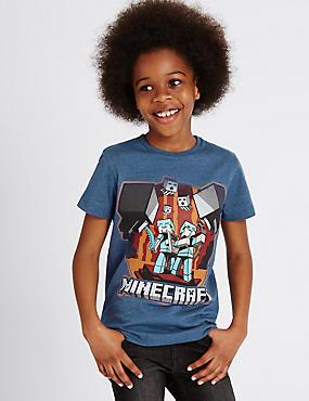 Cotton Rich Minecraft™ T-Shirt (3-14 Years), NAVY MIX, catlanding