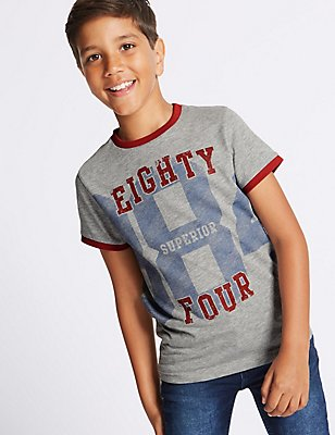 Cotton Rich Printed T-Shirt (3-14 Years), MULTI, catlanding