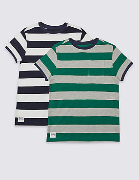 2 Pack Striped T-Shirts (3-14 Years), MULTI, catlanding