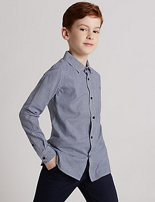 Pure Cotton Dogtooth Shirt (3-14 Years), DARK NAVY MIX, catlanding
