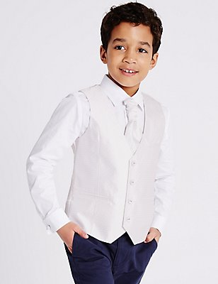 3 Piece Waistcoat, Shirt & Cravat Outfit (3-14 Years), GOLD MIX, catlanding
