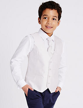 3 Piece Waistcoat & Shirt with Cravat Outfit (3-14 Years), GOLD MIX, catlanding