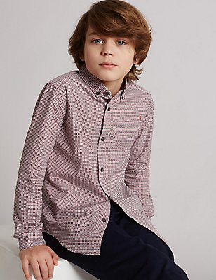 Pure Cotton Geometric Shirt (3-14 Years), CORAL MIX, catlanding