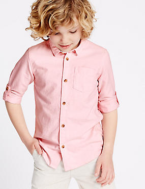 Pure Cotton Shirt (3-14 Years), PINK, catlanding