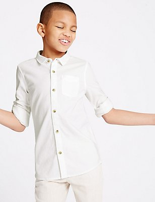 Pure Cotton Long Sleeve Shirt (3-14 Years) , WHITE, catlanding