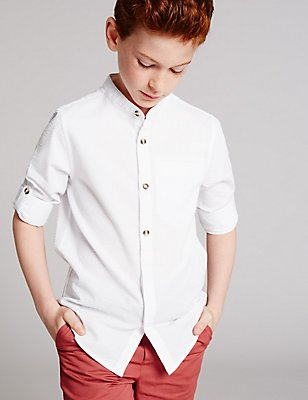 Cotton Blend Shirt (3-14 Years), WHITE, catlanding